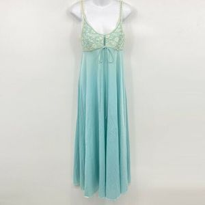 Vintage Long Nightgown M Sheer Lace Ruffle Keyhole